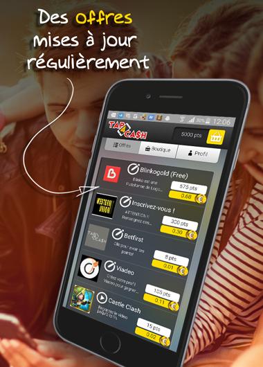 Appli Tap4Cash vue d'un Smartphone