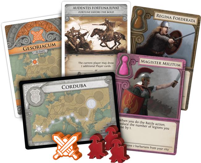 Pandemic La Chute de Rome cartes et meeples