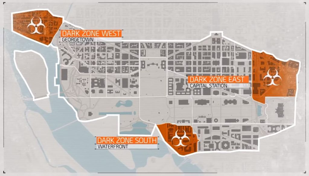 Tom Clancy's The Division 2 dark zone map carte