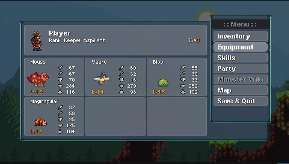monster sanctuary menu monstres